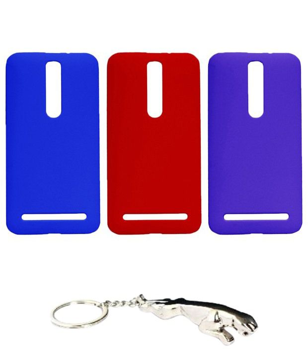 Winsome Deal Multicolour Combo of Keychain & 3 Asus Zenfone 2 Back Covers
