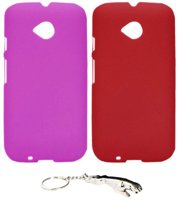 Winsome Deal Multicolour Combo of Keychain & 2 Motorola Moto E2 Back Covers