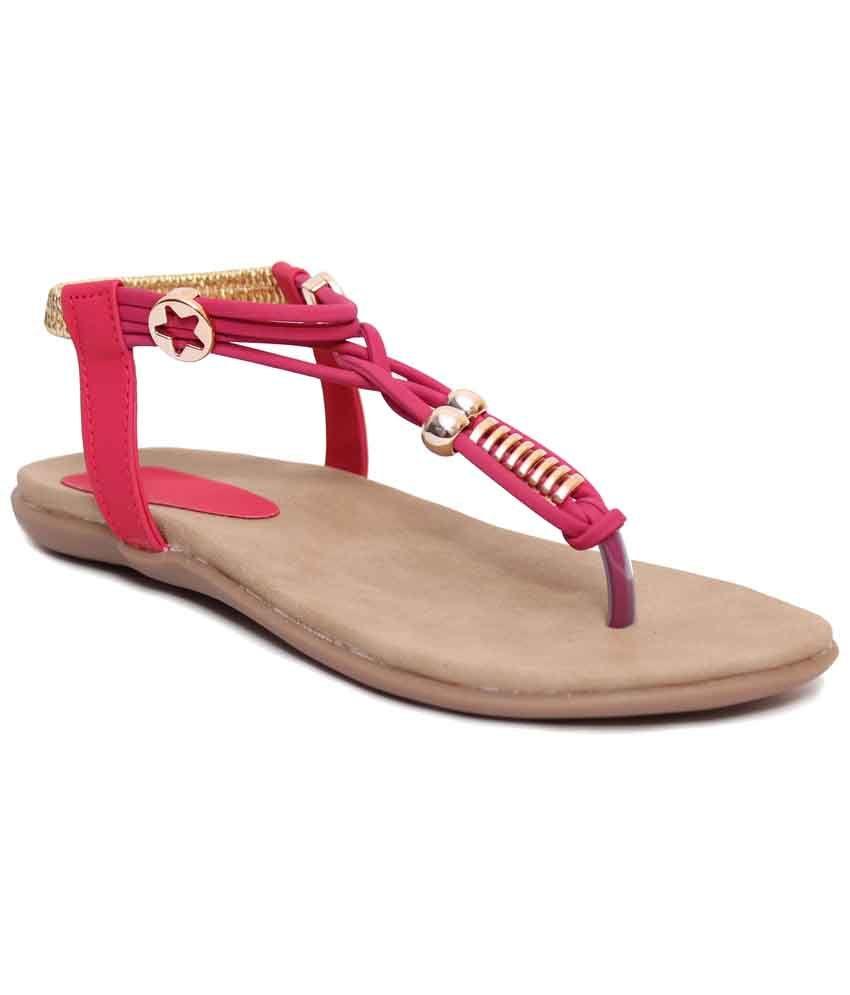 Klaur Melbourne Amazing Pink & Brown Flat Sandals for Women