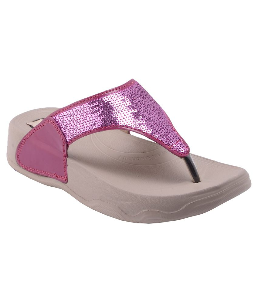 Rung Pink Leather Flat Slip-on