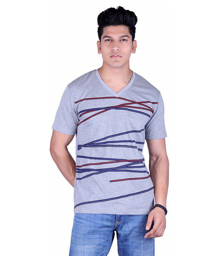 Vivid Bharti Gray Cotton Half Sleeves T-Shirt