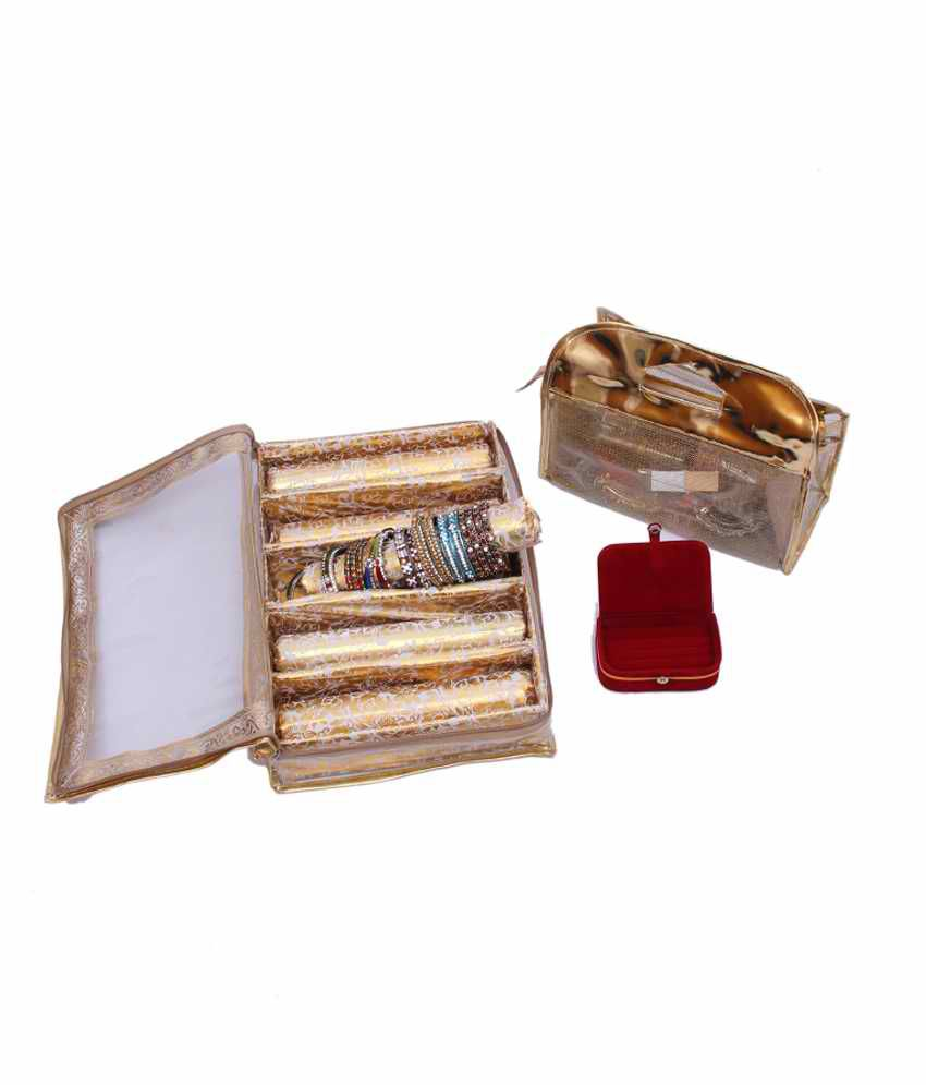 Kuber Industries Bangle Five Roll & Vanity & Earing Box