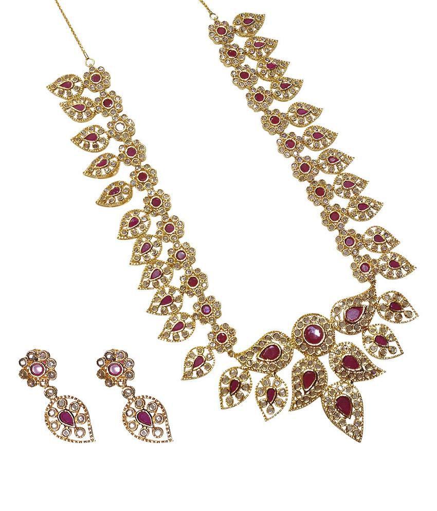 MP Fine Jewellery Golden American Diamond Necklace Set