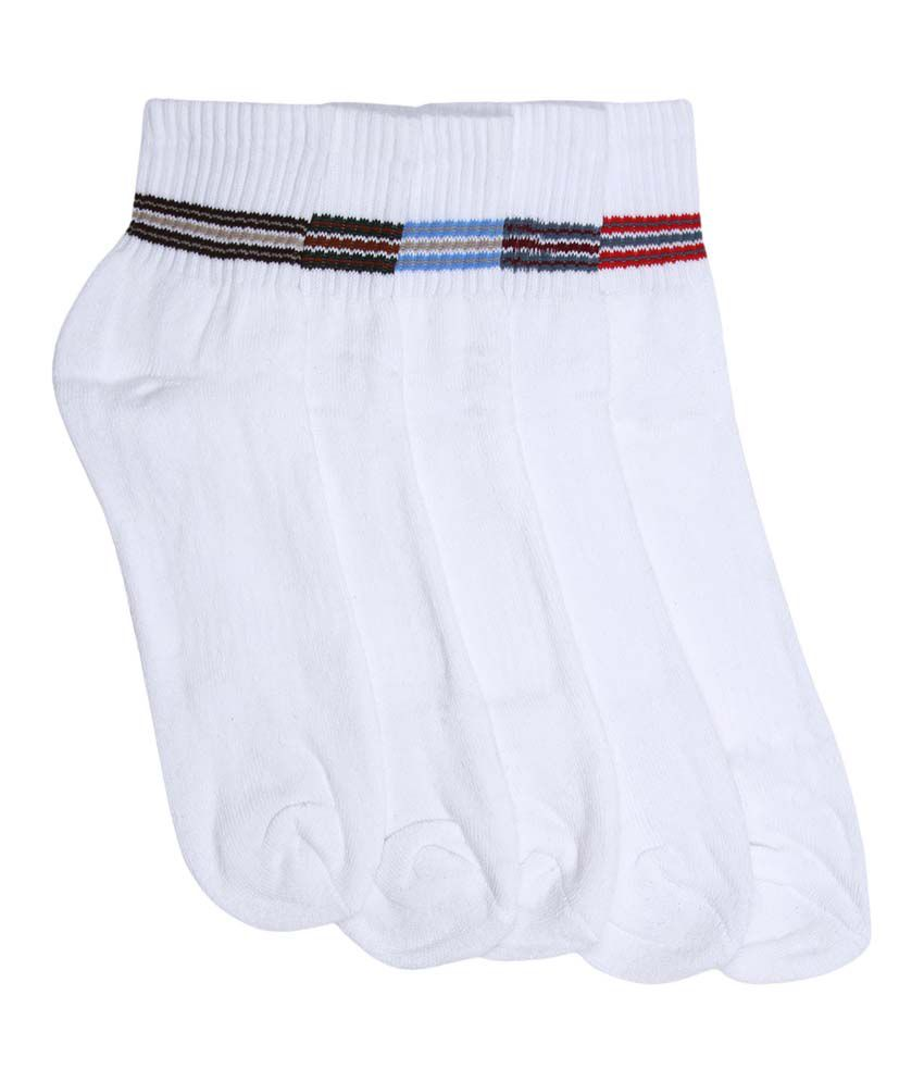 Mikado White Cotton Ankle Length Socks - Pack Of 5