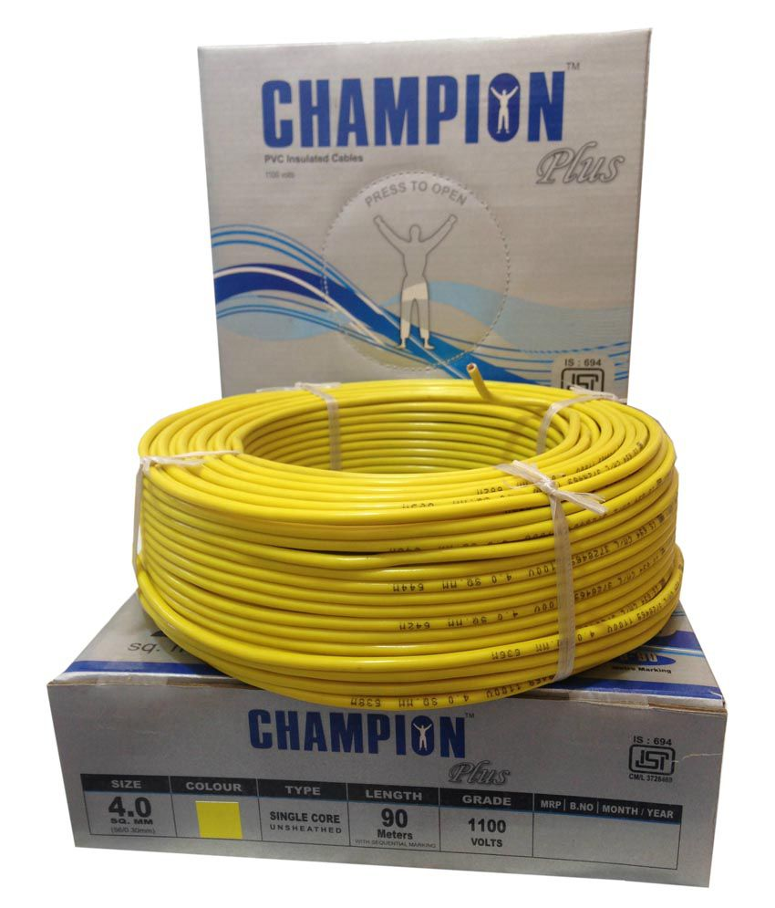 Buy Champion Plus Electric House Copper Wires 40 Sq Mm And Colour For Electrical Wiring Cables Yellow Color