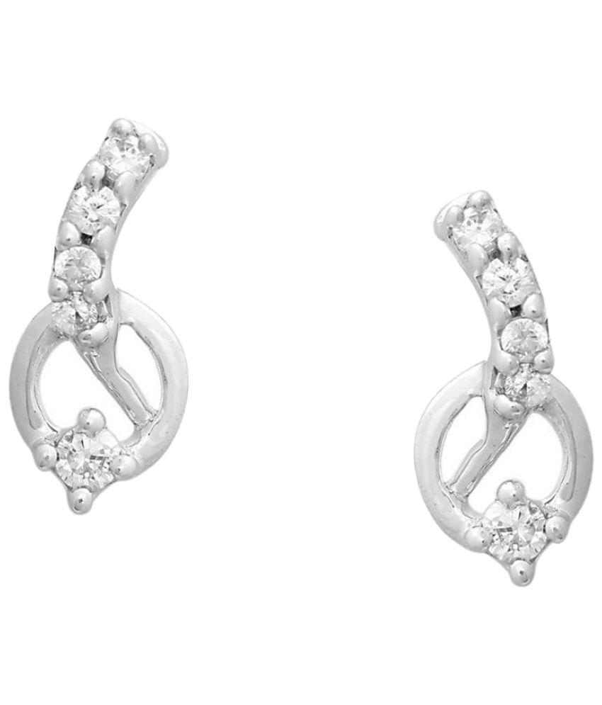 Gili 18Kt White Gold & 0.08 Ct Diamond Stud Earrings