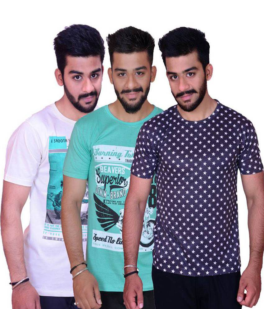 Inez Multicolour Casual Cotton Printed T-shirt Combo Of 3
