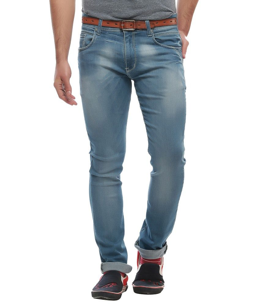 Jogur Blue Cotton Blend Slim Jeans