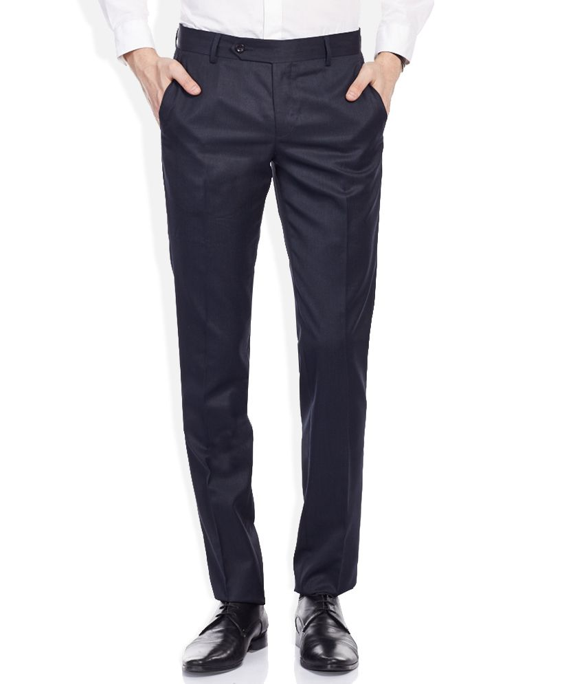 John Players Blue Slim Pleated Trouser
