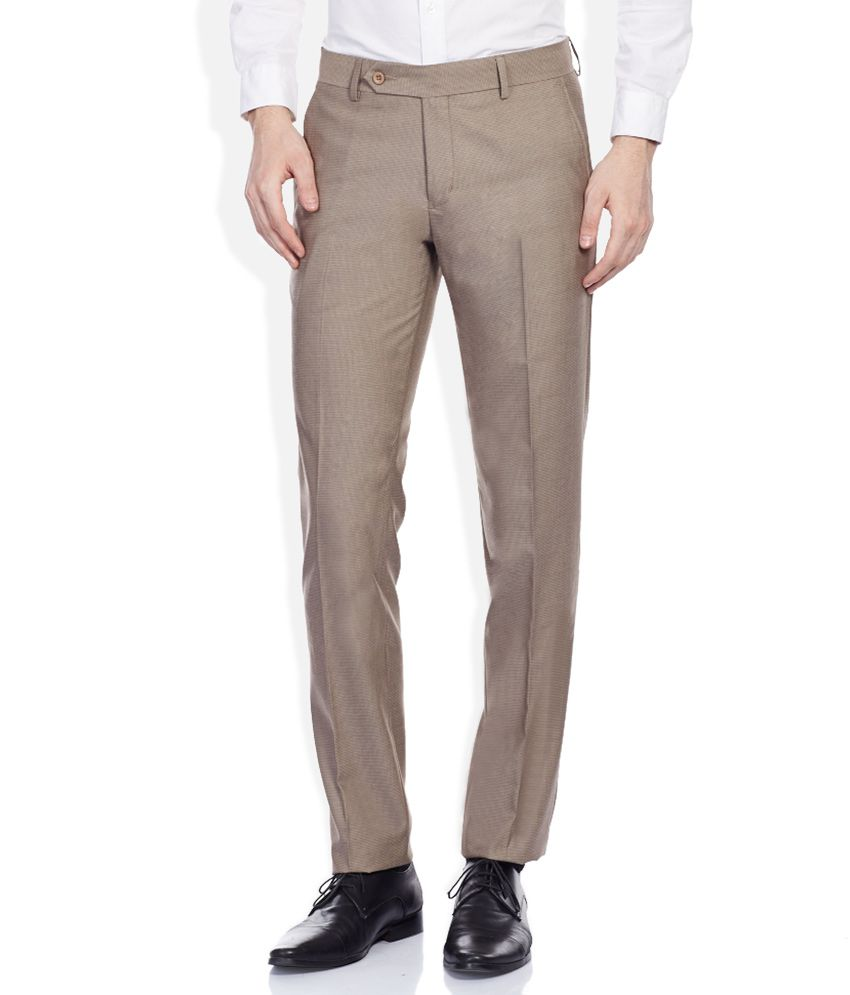 John Players Brown Slim Pleated Trouser