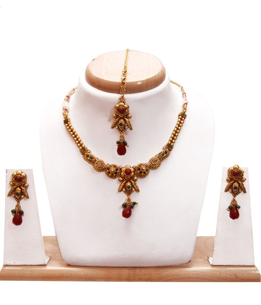 Karigari Fashions Golden Alloy Necklace Set With Maang Tika