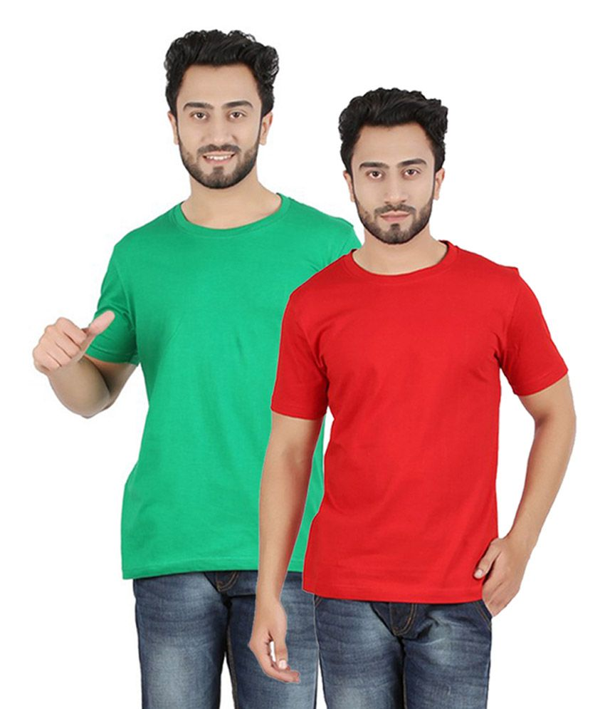 Pulse Red & Green Round Neck Cotton T-Shirt (Pack of 2)