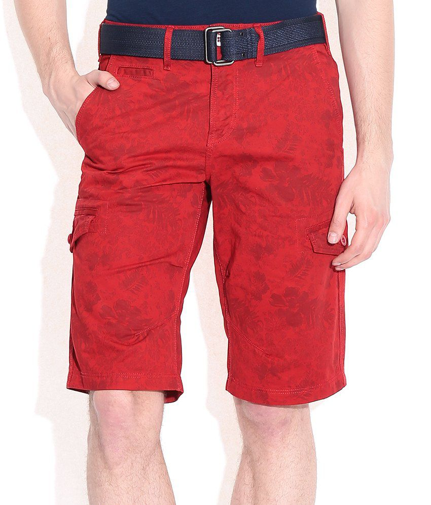 Celio Red Cotton Printed Shorts