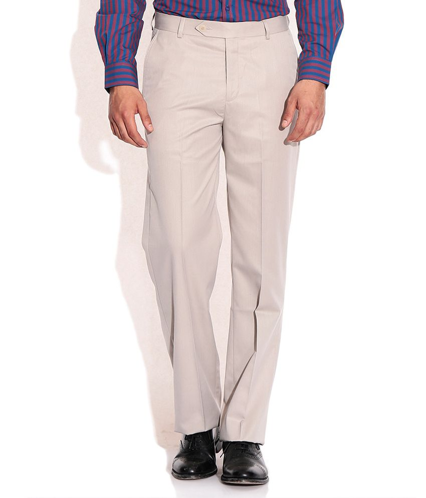 John Players Beige Regular Fit Formal Trousers