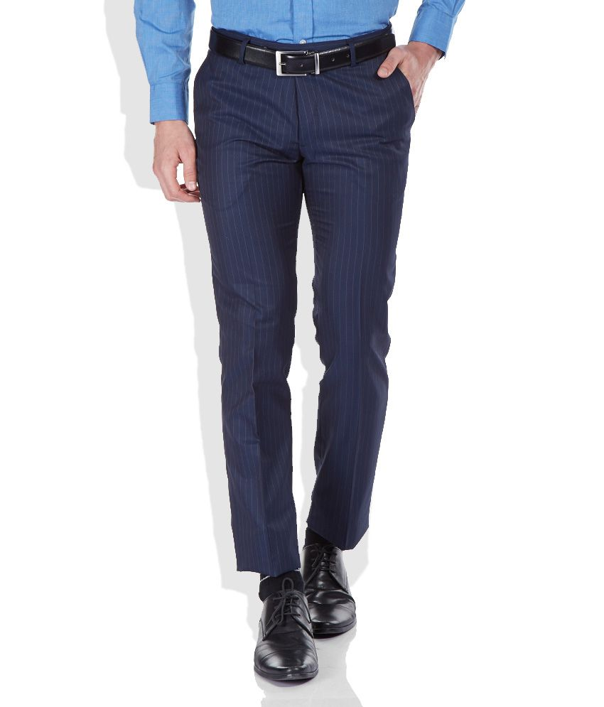 John Players Blue Slim Fit Trousers