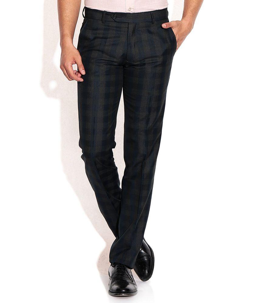 John Players Blue Slim Pleated Trouser