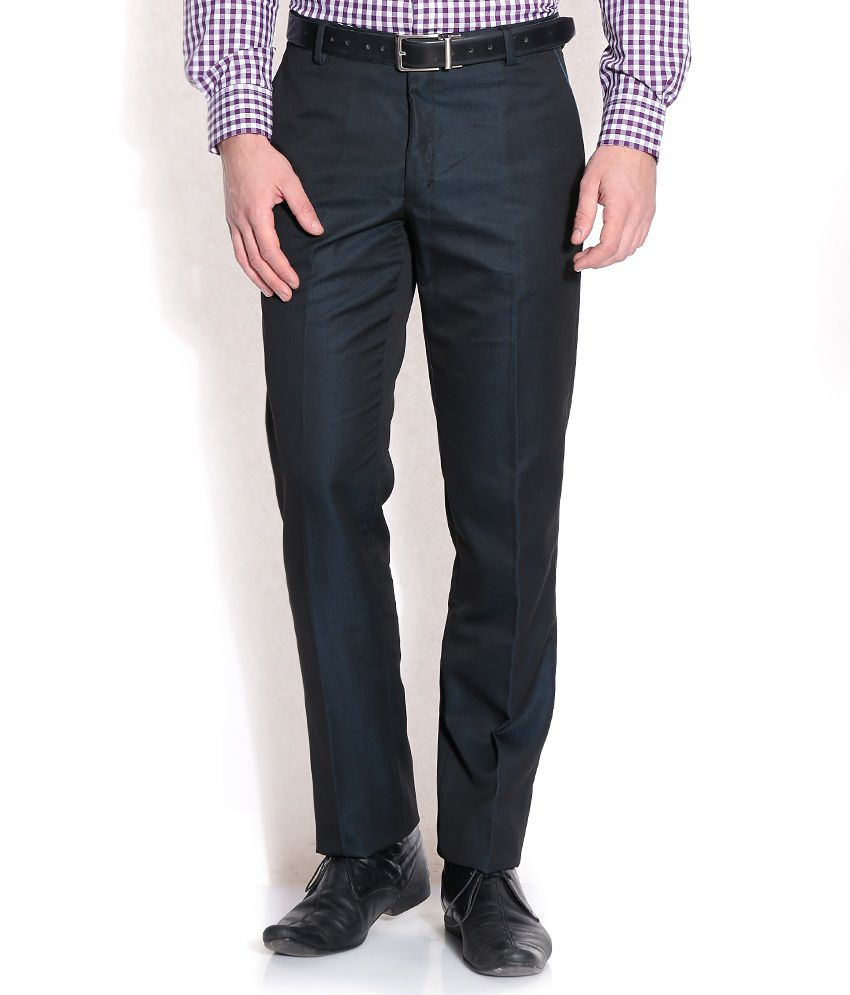John Players Blue Slim Formals Trousers & Chinos