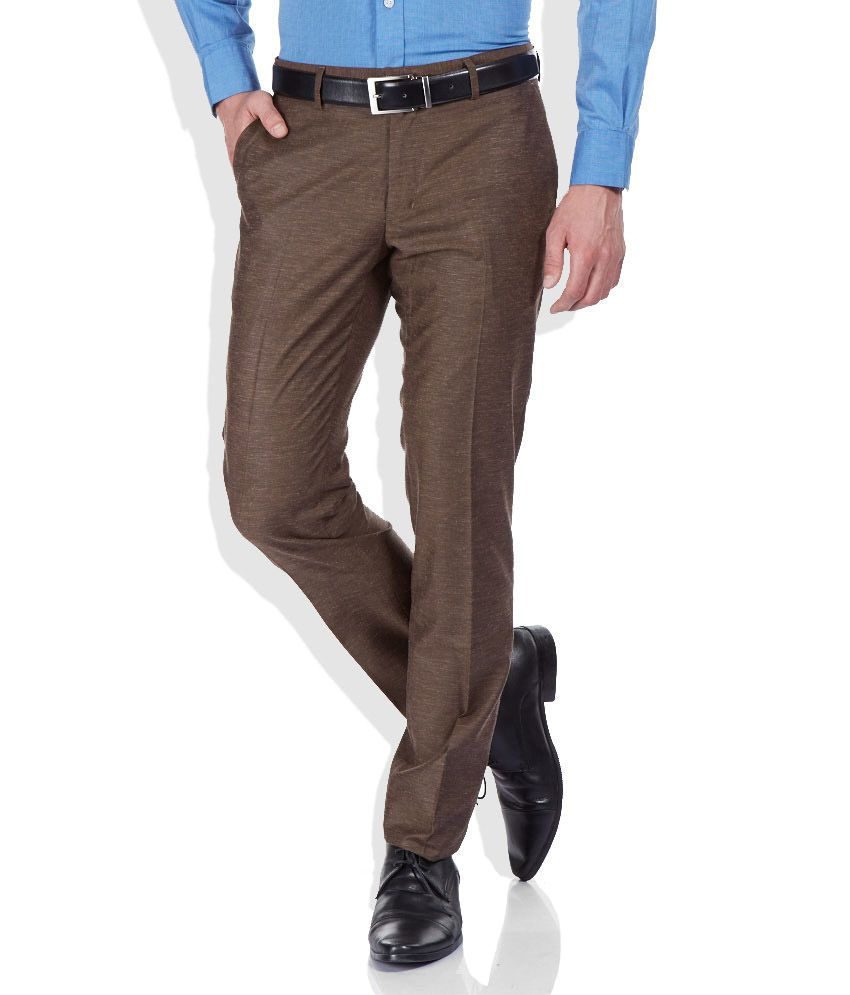 John Players Brown Slim Fit Trousers