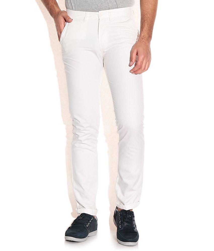 John Players Ghostwhite Slim Fit Trouser