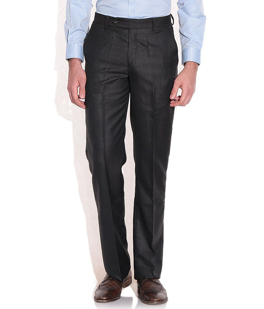 John Players Gray Regular Fit Formal Trousers