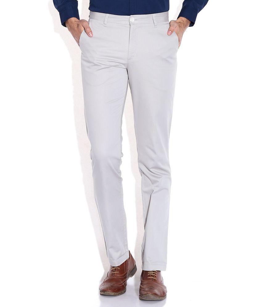 John Players Gray Slim Fit Trouser