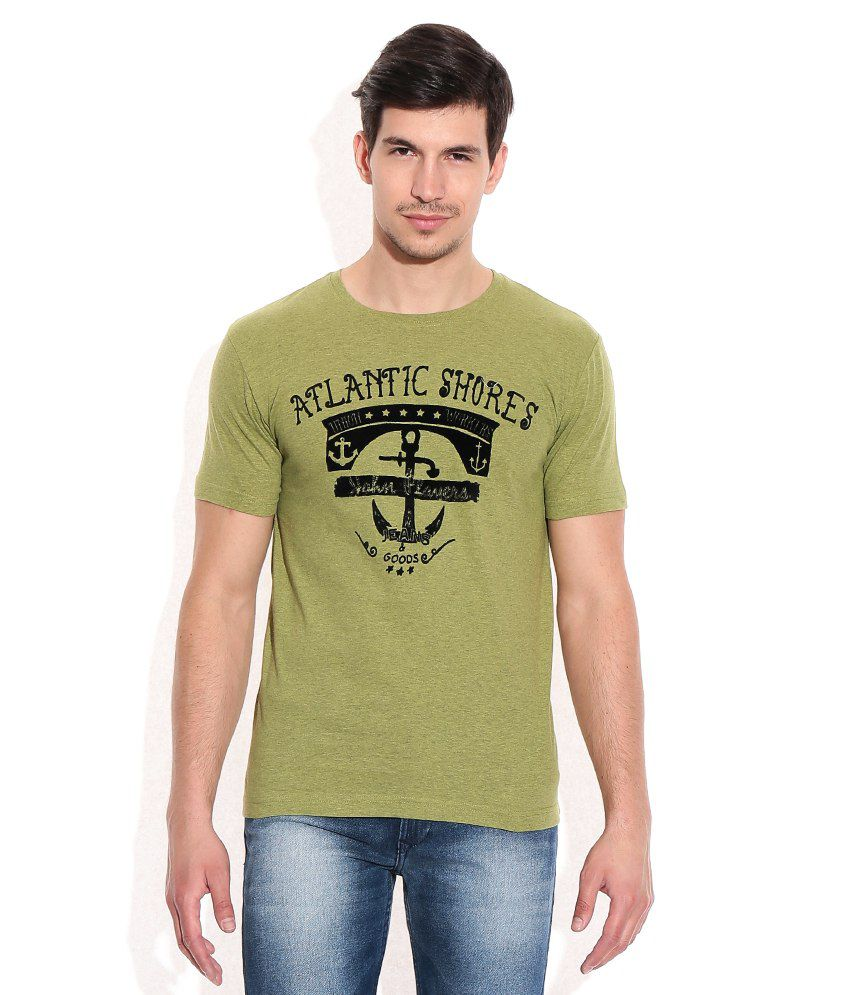 John Players Green Cotton Round Neck T-Shirt