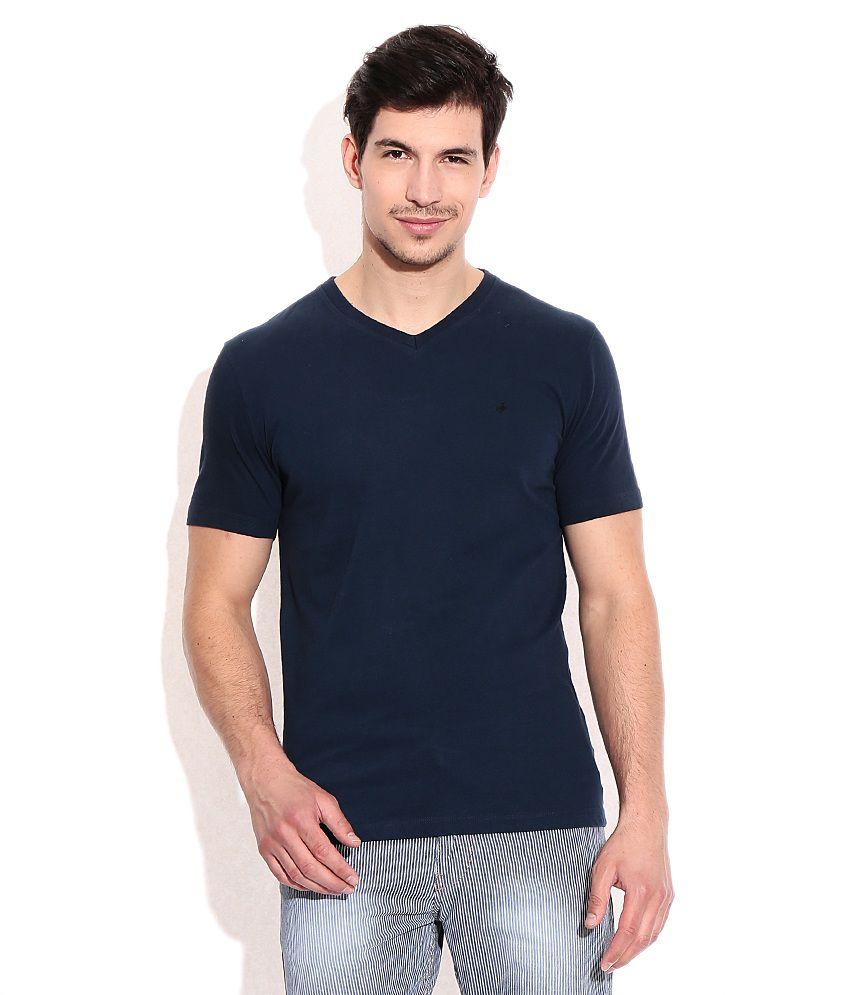 John Players Navy Cotton V-Neck T-Shirt