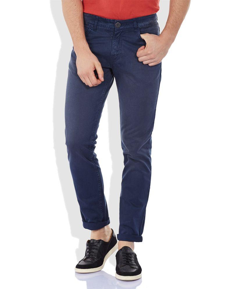 John Players Navy Blue Slim Flat Trouser