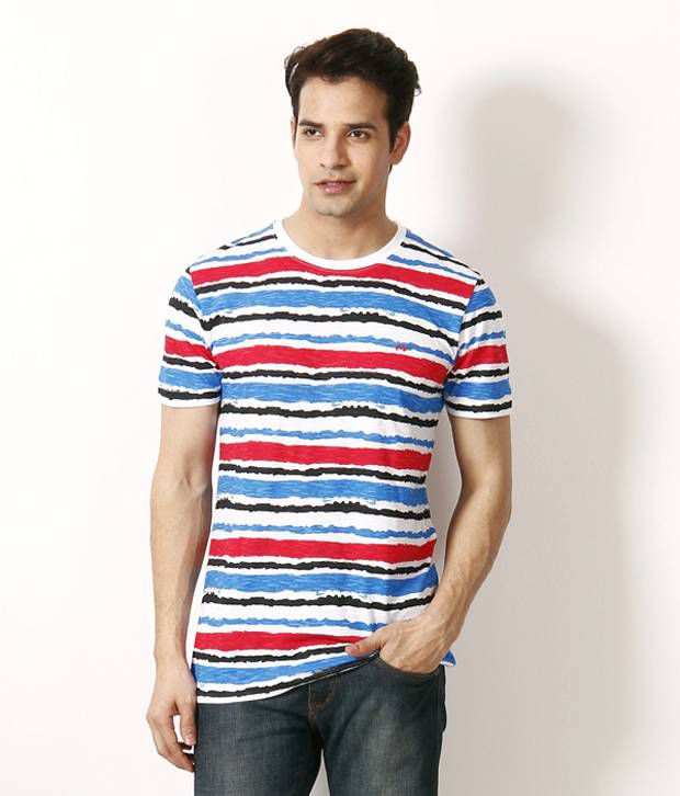 John players red and blue striped t shirt buy john for Red and blue t shirt