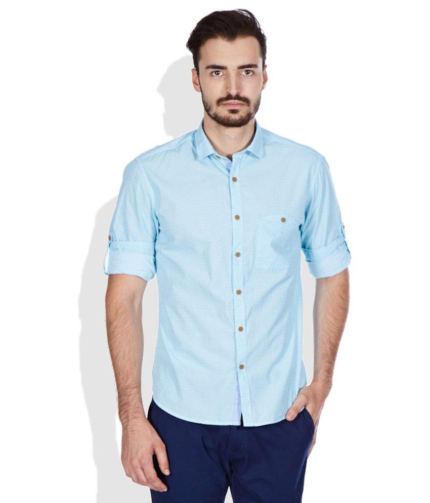 John Players Turquoise Slim Fit Shirt Buy John Players