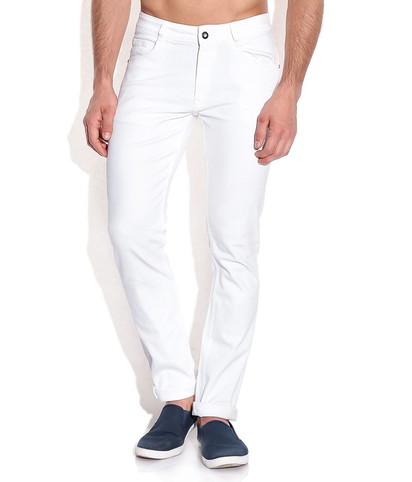John Players White Skinny Fit Jeans