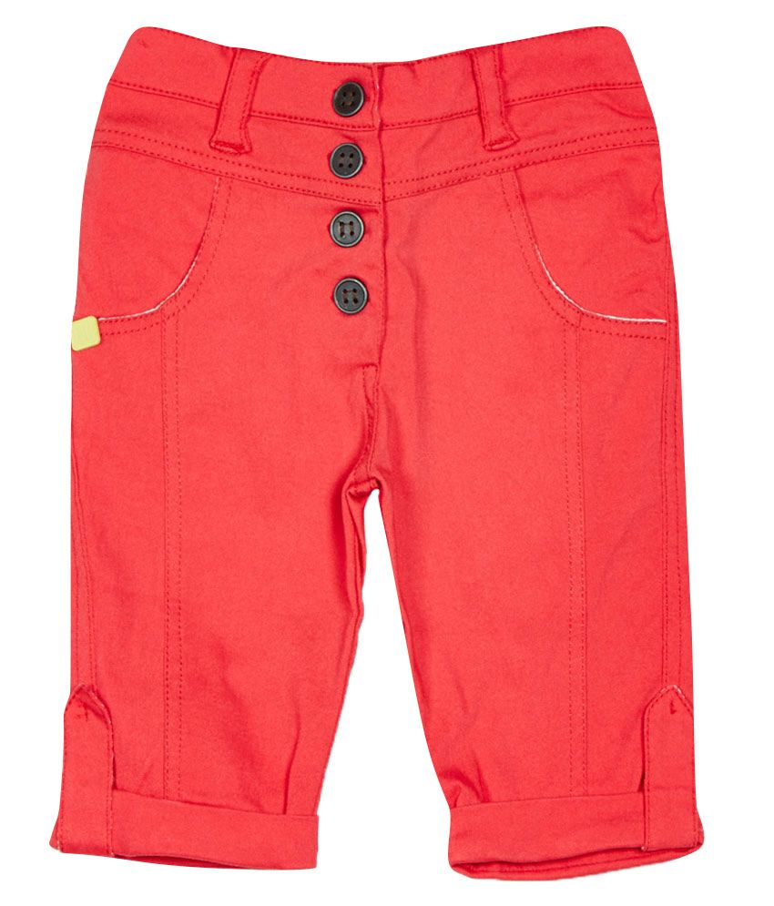 Little Kangaroos Coral Cotton Blend Capris