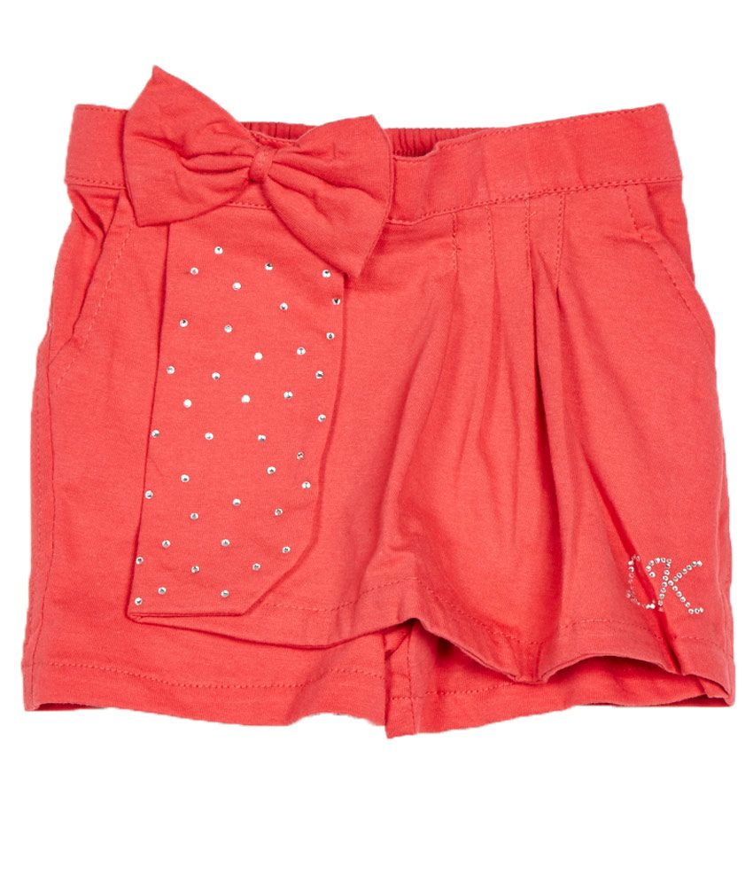 Little Kangaroos Coral Cotton Blend Shorts