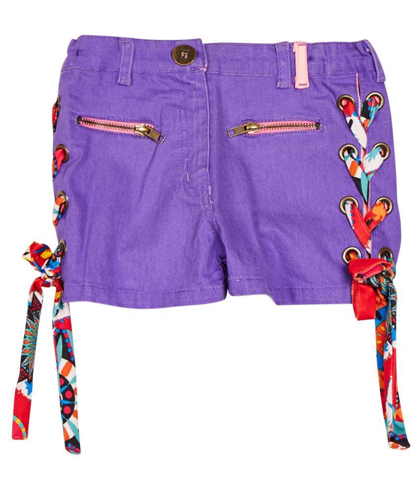 Little Kangaroos Purple Cotton Blend Shorts