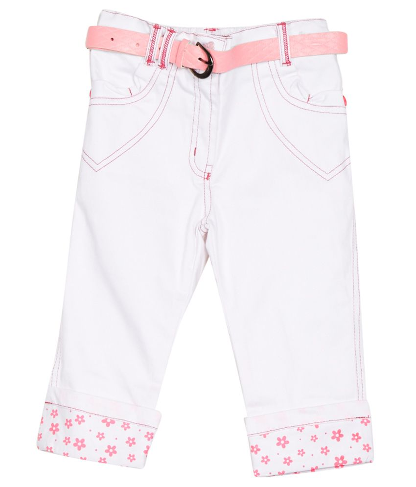 Little Kangaroos White Cotton Blend Capris