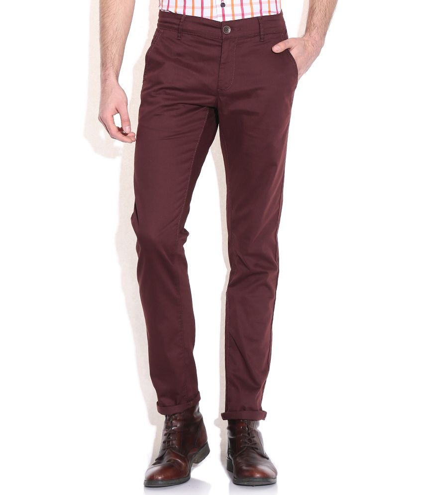 Mufti Maroon Slim Fit Casual Trousers