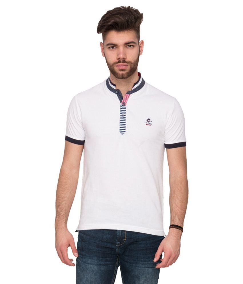 Mufti White Polo Neck T Shirt Buy Mufti White Polo Neck