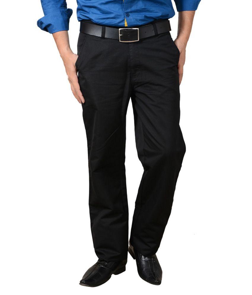 Pescis Black Cotton Comfort Formals Trouser