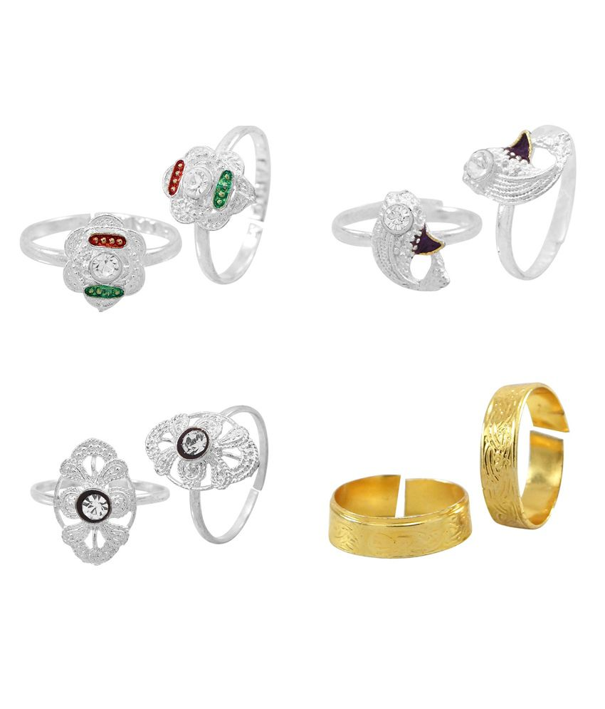 R S Jewels Silver Plated Cz Colour Spark Toe Ring - Combo Of 4