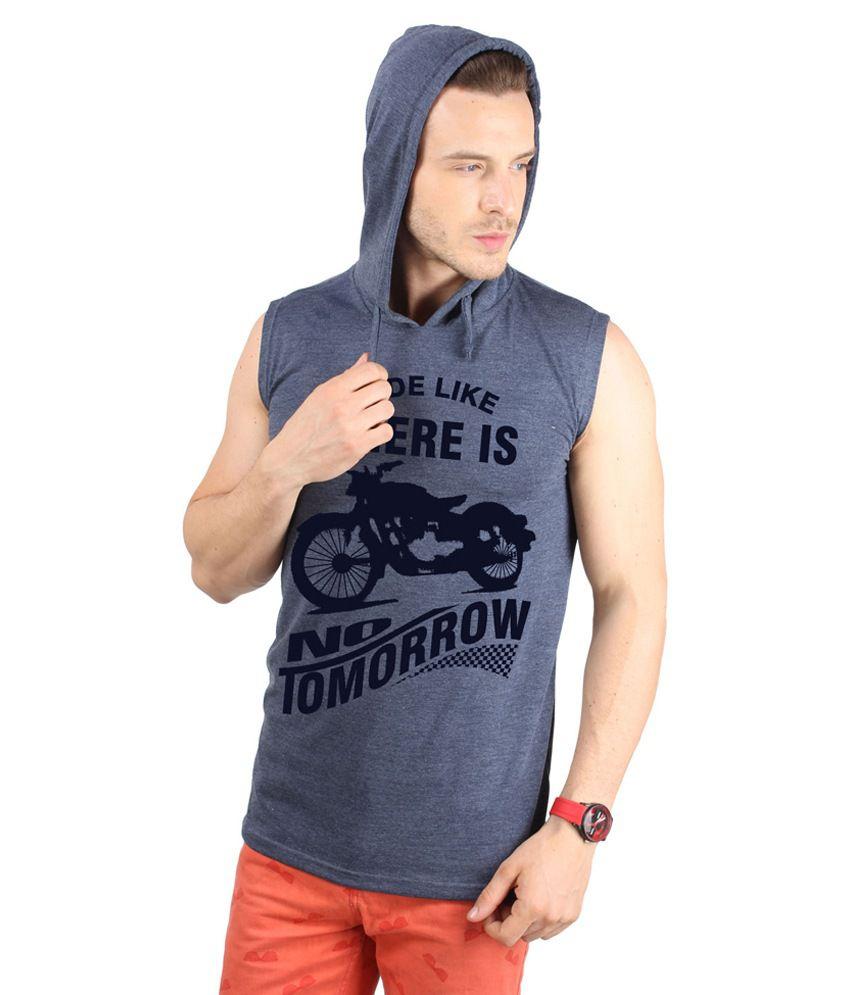 Sayitloud Gray Cotton Sleeveless Hooded T-Shirt