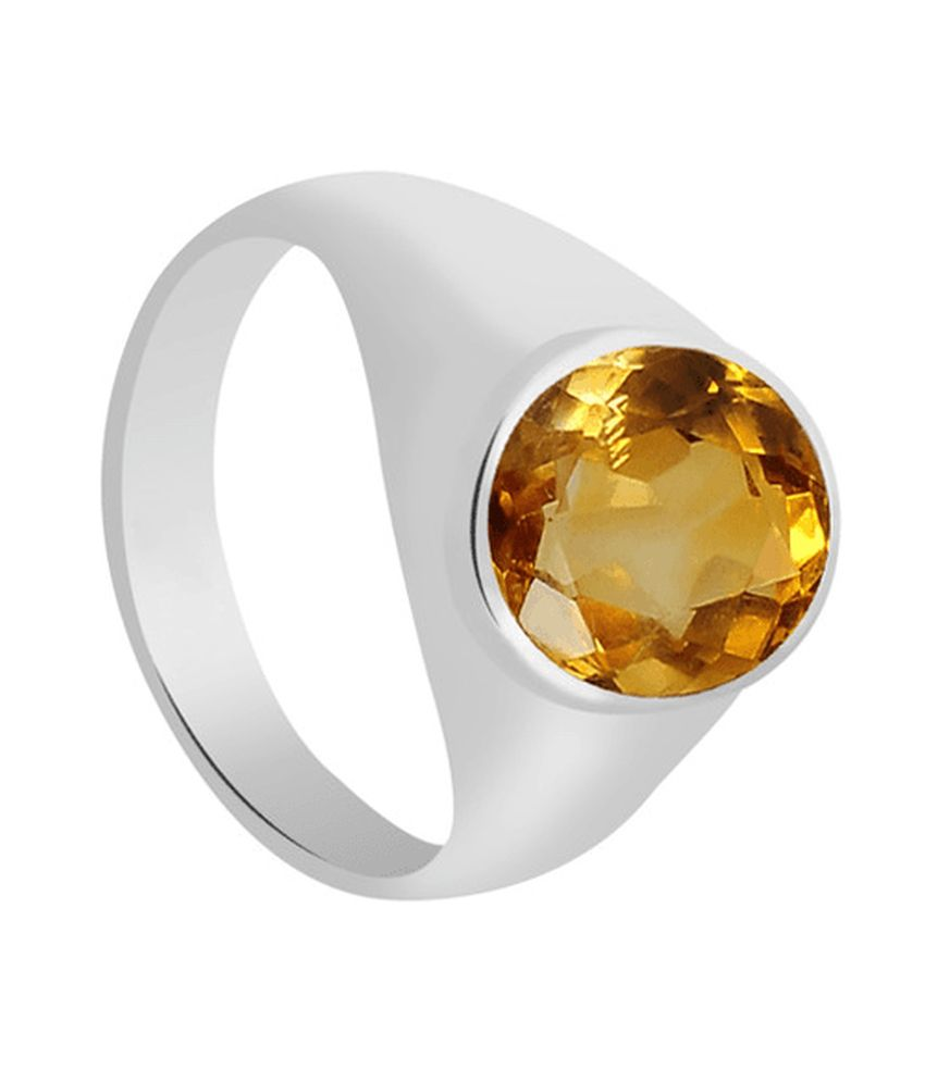 55Carat Yellow Silver 6.5 Ratti Citrine Ring