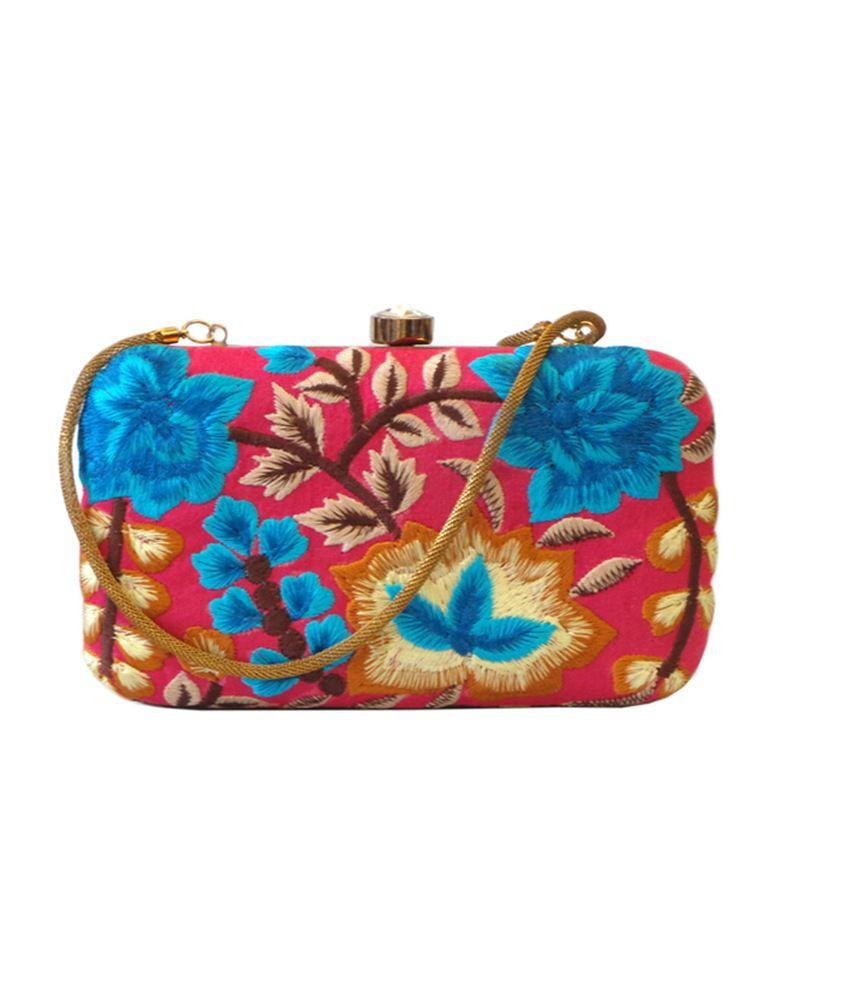 Bhamini Pink Silk Clutch For Women