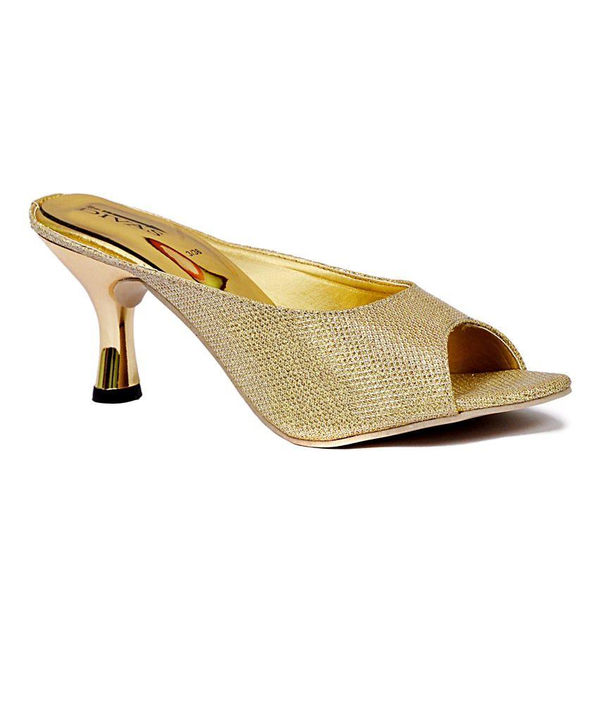 New Divas Golden Heeled Slip Ons