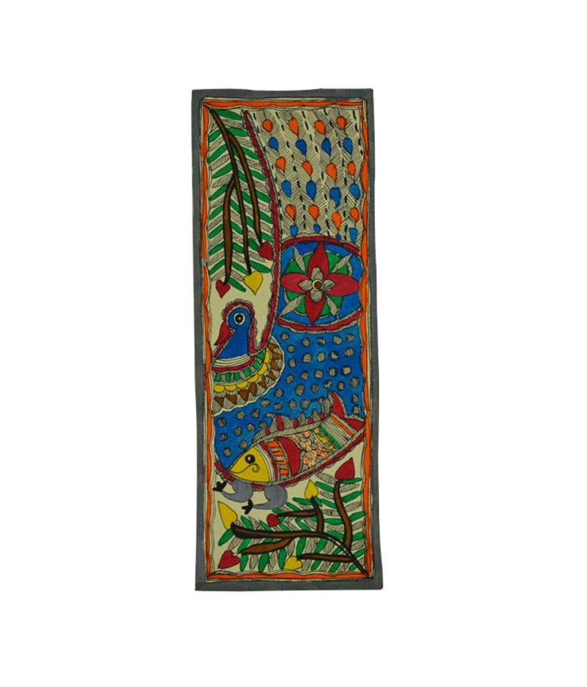 Craftuno Traditional Madhubani Painting Depicting Flora And Fauna