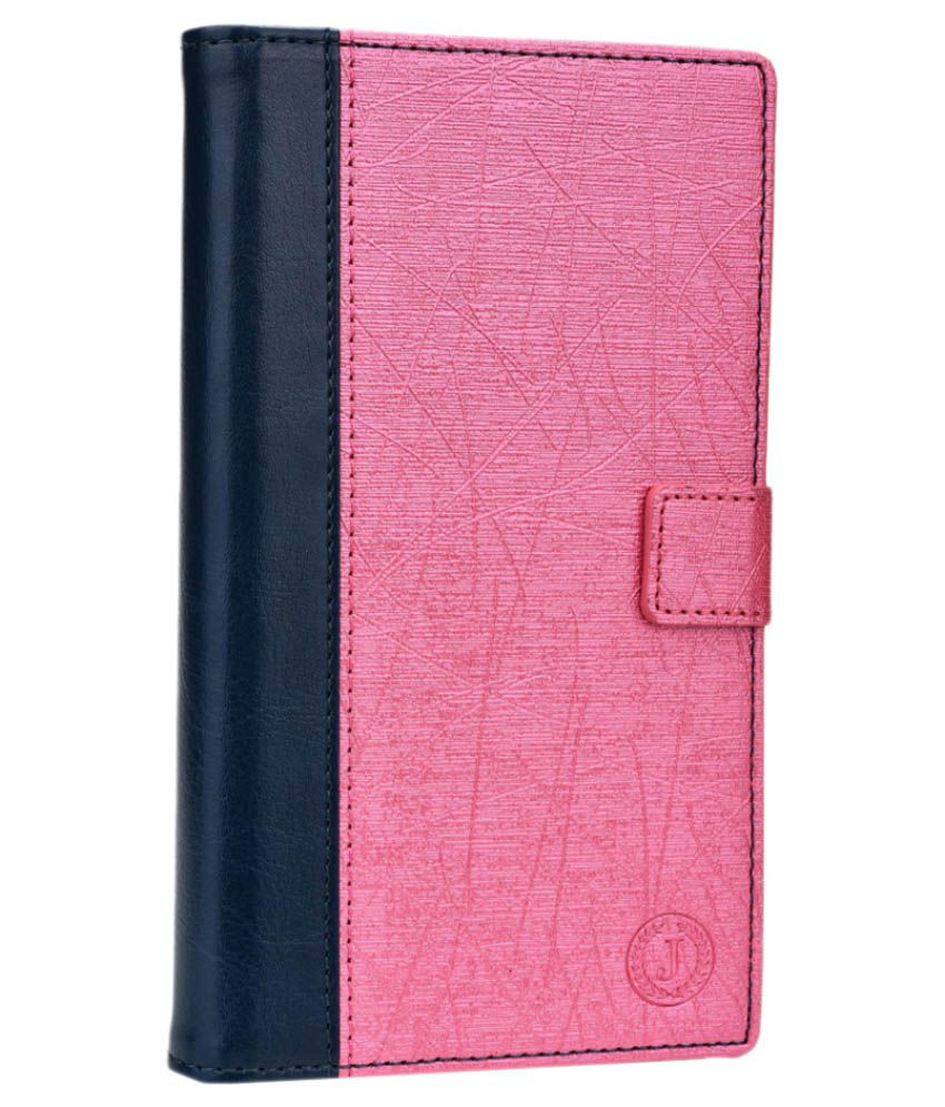 Jo Jo Cover Pluto Series Leather Pouch Flip Case for Micromax Canvas Music - Dark Blue and Pink