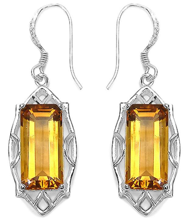 Johareez 92.5 Sterling Silver Citrine Hanging Earrings