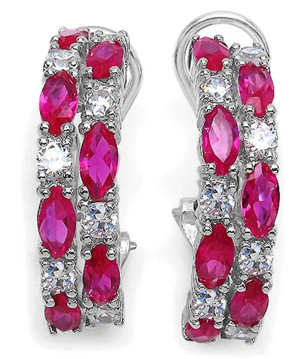 Johareez 92.5 Sterling Silver American Diamond Huggies Earrings