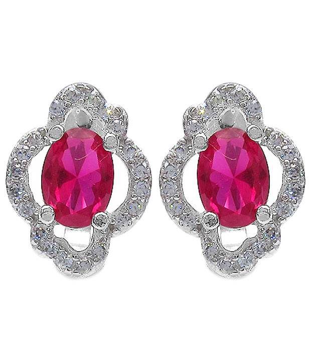 Johareez 92.5 Sterling Silver American Diamond Stud Earrings