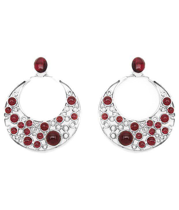 Johareez 92.5 Sterling Silver Rhodolite Hanging Earrings