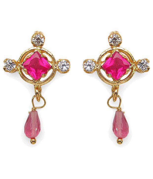 Johareez Pink & Golden American Diamond Drop Earrings